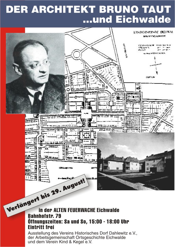Plakat zur Taut-Ausstellung in der Alten Feuerwache Eichwalde.
