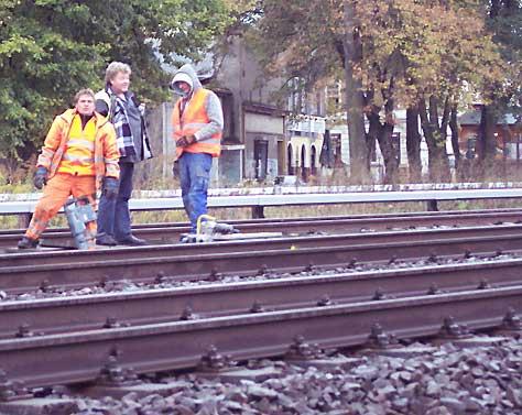 Gleisbauarbeiten am S-Bahnhof in Eichwalde. (Foto: jl)