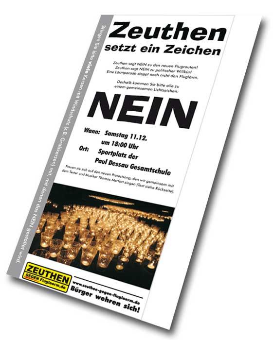 Flugblatt der Bürgerinitiative Zeuthen gegen Fluglärm.