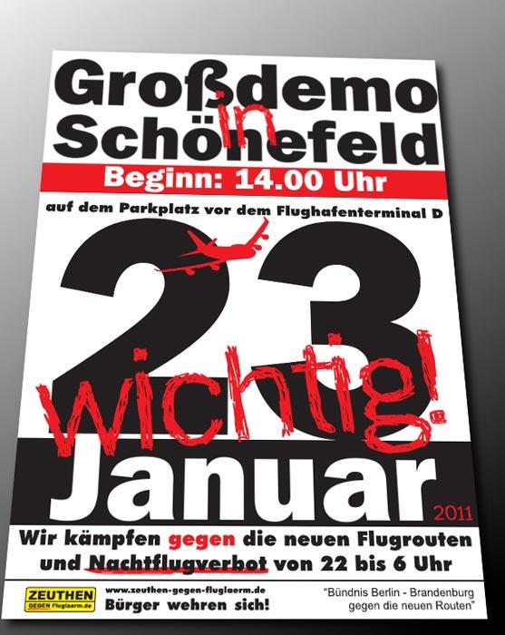 Plakat zur Demonstration am 23.1.2011 in Schönefeld.