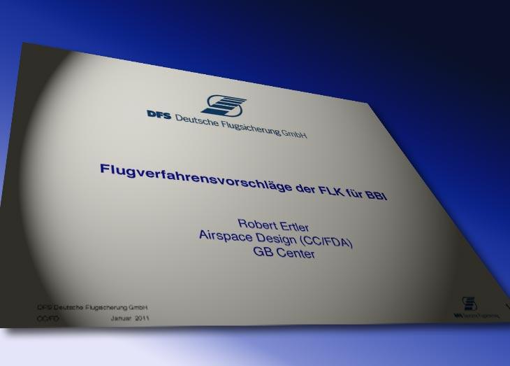 Titelfolie der DFS-Präsentation bei der Sitzung der Fluglärmkommission am 17.1.2011.