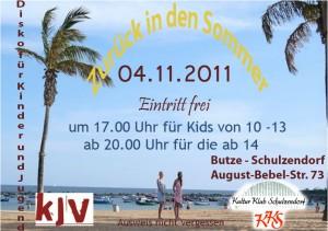 Flyer zur Kinder und Jugend-Disko am 4.11.2011 in der Schulzendorfer Butze.