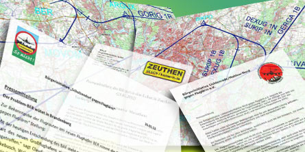 Ganz unterschiedlich beurteilten die Bürgerinitiativen die Flugrouten, welche das Bundesaufsichtsamt für Flugsicherung gestern vorstellte. (Montage: Jörg Levermann)
