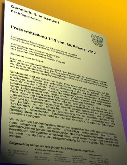 Offener Brief der Schulzendorfer Gemeindevertreter.