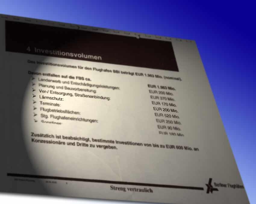 Ein internes Papier der Flughafen Berlin-Brandenburg GmbH belegt, dass im Jahr 2005 die Kosten für den Lärmschutz auf 200 Millionen Euro kalkuliert wurden. (Quelle: BVBB, Montage: Jörg Levermann)