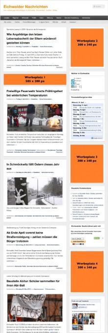 Es gibt vier Werbeplätze in den Eichwalder Nachrichten. Weitere Werbeflächen können bei Bedarf geschaffen werden.