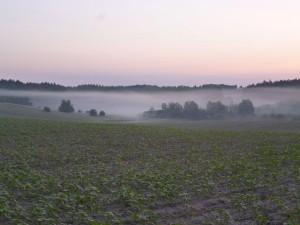 Sonnenaufgang kurz vor Sienno in Polen. (Foto: Jörg Levermann)