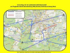 Vorschläge für Flugrouten bei Starts Richtung Westen. (Grafik: Marcel Hoffmann mit Karten von Open Streetmap)