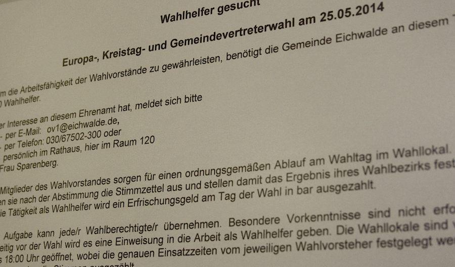 Wahlhelfer werden gesucht. Noch nicht einmal die Hälfte der notwendigen 69 Wahlhelfer haben sich gemeldet. (Foto: Jörg Levermann)
