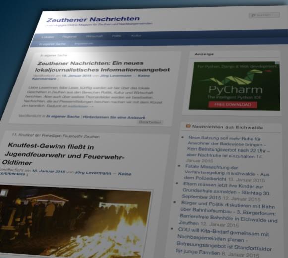 Bildschirmfoto der Zeuthener Nachrichten. (Montage: Jörg Levermann)