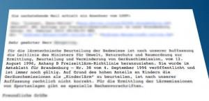 Stellungnahme des Landesamt für Umwelt, Gesundheit und Verbraucherschutz zu einer Anfrage eines Bürgers. (Montage: Jörg levermann)
