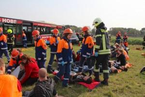 Ein so genannter Massenanfall von Verletzten spielte im Übungszenario am Zeuthener Winkel beim Übungswochenende der Jugendfeuerwehren eine zentrale Rolle. (Foto: Oliver Hein, Freiwillige Feuerwehr Eichwalde)