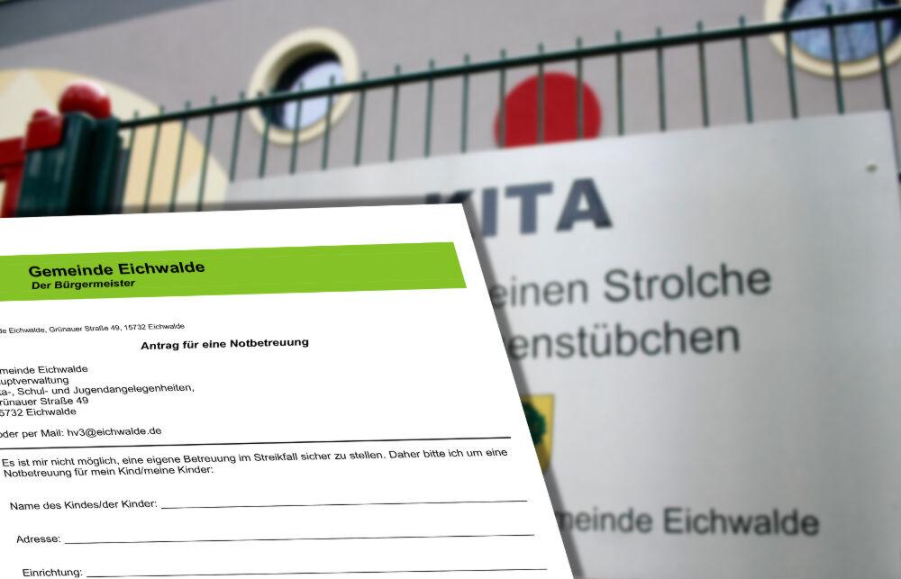 Im Gegensatz zum Streik der vergangenen Woche, konnte die Gemeindeverwaltung für den Streik in der kommenden Woche eine Notbetreuung für Alleinerziehende und berufstätige Eltern organisieren. (Foto und Montage: Jörg Levermann)