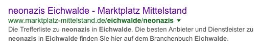 """Bildschirmfoto aus der Google-Trefferliste zur Suchabfrage """"Neonazis Eichwalde"""" (3. Platz)."""
