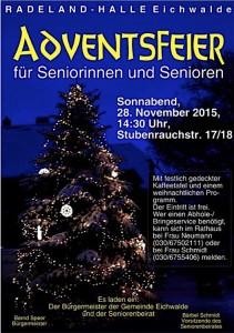 Plakat zur Seniorenweihnachtsfeier am 28. November 2015 in der Radelandhalle.