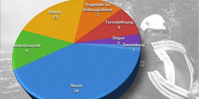 Die Eichwalder Feuerwehr rückte 2015 am häufigsten zu Sturmschäden aus (Grafik: Feuerwehr Eichwalde).