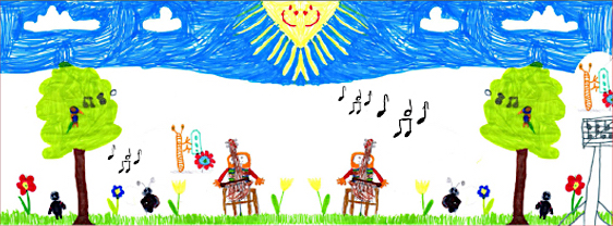 So stellen sich Kinder den Sommer musikalisch vor. (Illustration des Plakats zum Kinderkonzert des Schmöckwitzer Kammerorchesters)